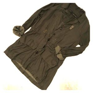 Army green silk-like jacket - XS